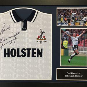 Paul Gascoigne Signed 1991 Spurs Shirt – Framed