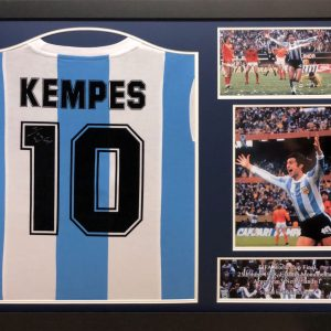 Mario Kempes Signed Argentina Shirt  – Framed