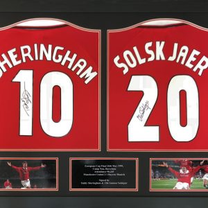 Sheringham & Solskjaer Double Signed Shirts – Framed