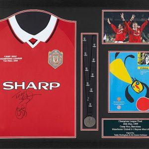 Sheringham & Solskjaer 1999 Signed Shirt With Medal – Framed