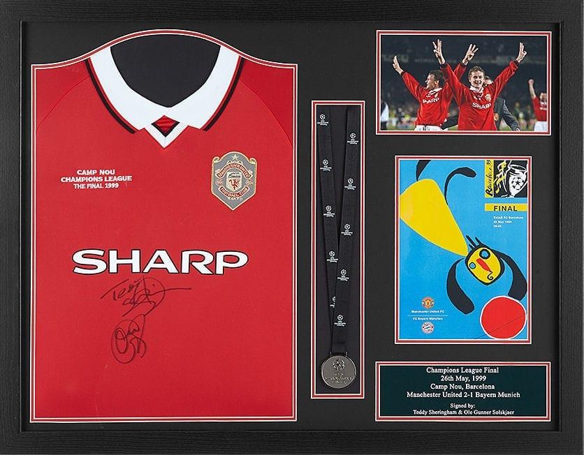 Sheringham   Solskjaer 1999 Signed Shirt With Medal - Framed - National  Football Museum 2245b1d0f