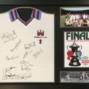West Ham 1980 Final Shirt Signed by 12 – Framed