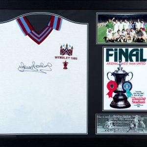 Trevor Brooking Signed 1980 West Ham Shirt – Framed