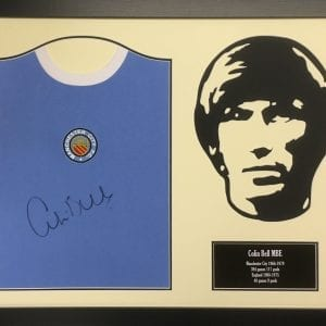 Colin Bell Signed Manchester City Shirt With Silhouette – Framed