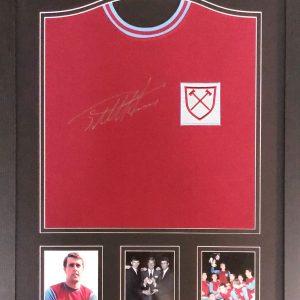 Sir Geoff Hurst Signed West Ham United shirt – Framed