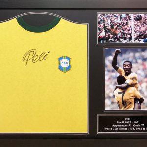 Pele Signed Brazil Shirt – Framed