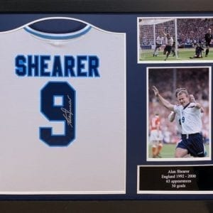 Alan Shearer Signed England Euro 96 Shirt Framed