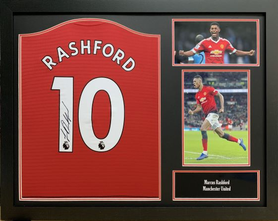 buy online bf295 7ebe8 Marcus Rashford Signed Manchester United 2018/19 Shirt Framed