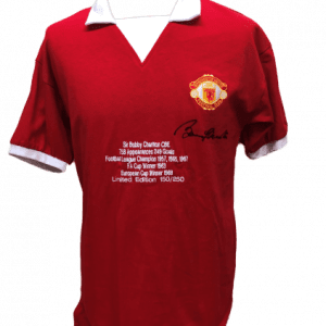 Sir Bobby Charlton Signed Manchester United Embroidered Limited Edition Shirt