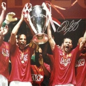 Ryan Giggs Signed Manchester United 2008 Champions League Final Photo