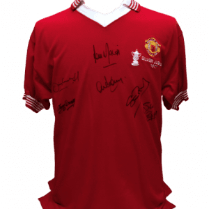 Manchester United 1977 FA Cup Winners Shirt Signed by 6