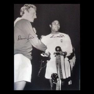 Eusebio & Denis Law Dual Signed Photo