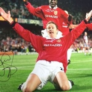 Ole Gunnar Solskjaer Signed 1999 Champions League Final Photo