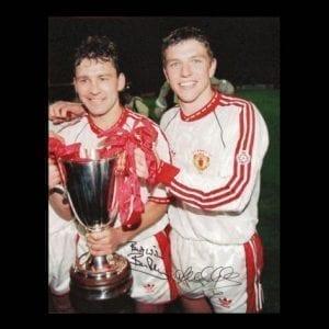 Bryan Robson & Lee Sharpe Dual Signed Photo