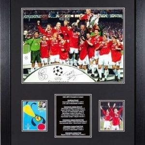 Solskjaer & Sheringham Dual Signed 1999 Champions League Final Photo