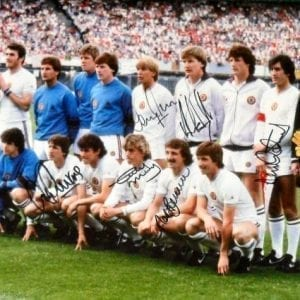 Aston Villa Signed 1982 European Cup Final Team Photo Signed by 6