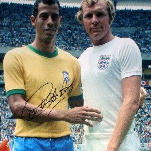 Carlos Alberto Signed 1970 Brazil v England Photo
