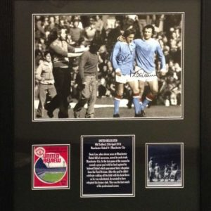 """Denis Law & Mike Summerbee Dual Signed """"The Backheel"""" Photo"""