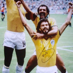 Sócrates Signed 1986 World Cup Photo