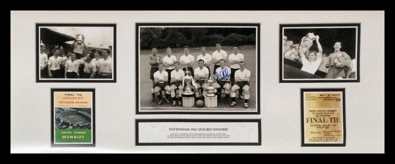 Signed and framed Tottenham spurs 1961 double photo