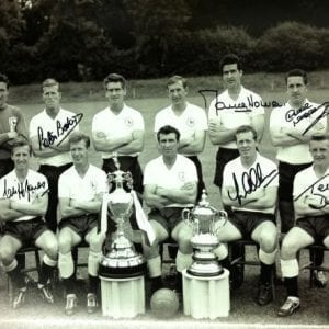 Tottenham 1961 Double Winners Photo Signed by 6