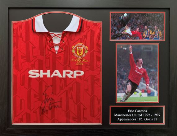 Eric Cantona Signed Manchester United Replica Home Shirt – Framed