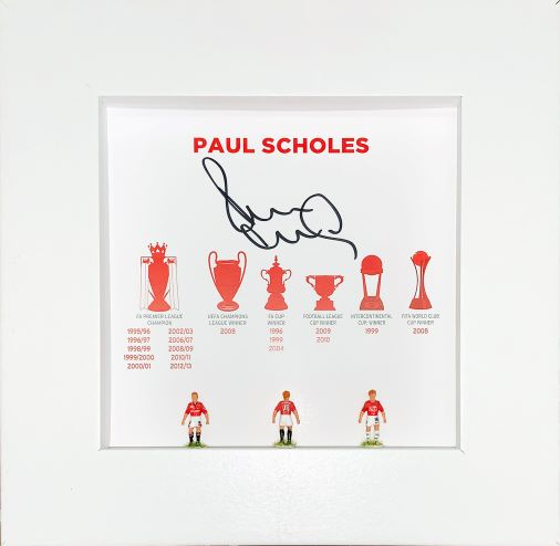 Paul Scholes Signed Hand Painted Subbuteo Career Display