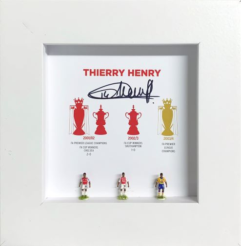 Thierry Henry Signed Hand Painted Subbuteo Career Display