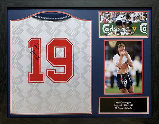 Paul Gascoigne Signed 1990 England World Cup Shirt Framed