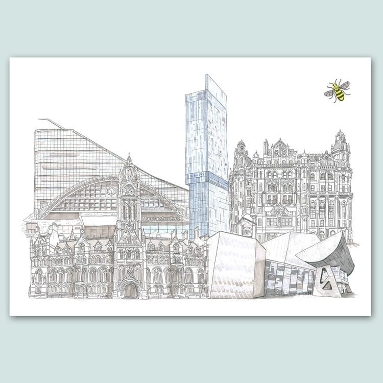 Manchester Collage of the Cities Landmarks, limited Edition Print