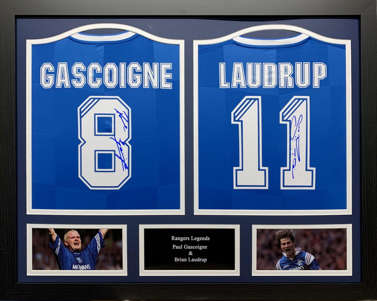 Paul Gascoigne & Alan Shearer Signed Two Shirt Display Rangers
