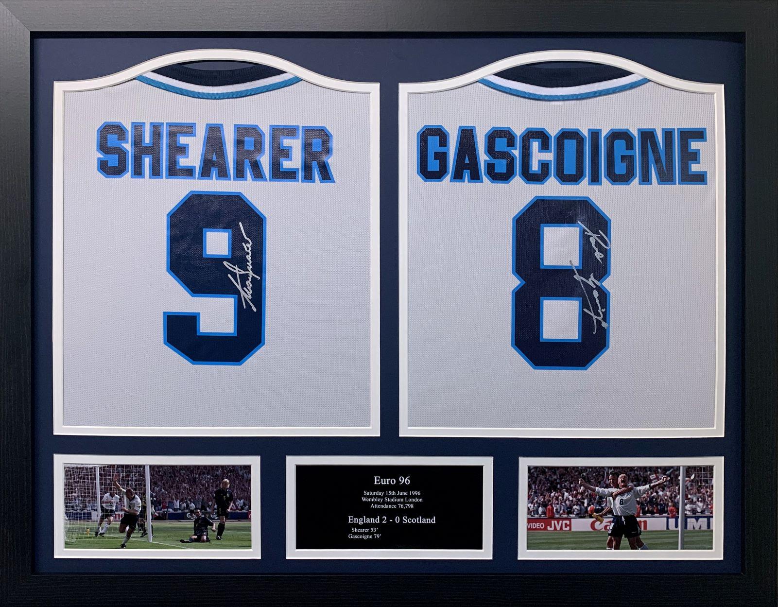 Paul Gascoigne & Alan Shearer Signed Two Shirt Display Euro 96