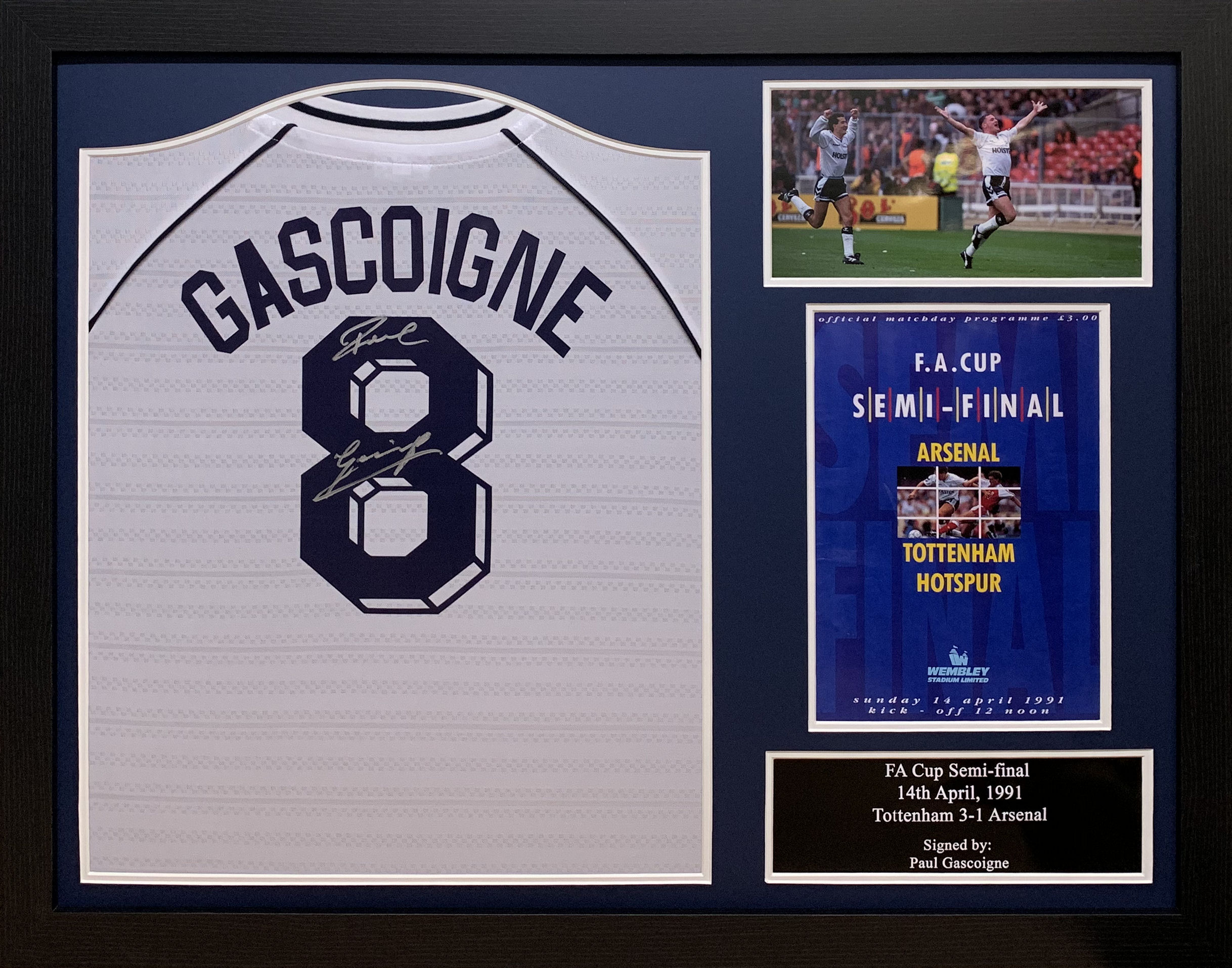 "Paul ""Gazza"" Gascoigne Spurs Signed Tottenham 1991 Shirt"
