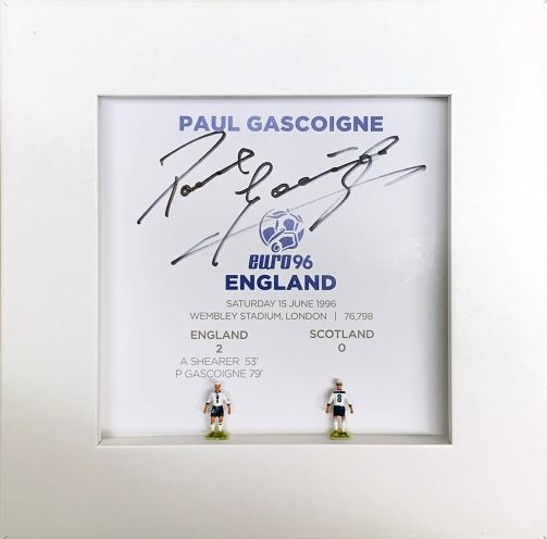 Paul Gascoigne Signed Hand Painted Subbuteo Career Display