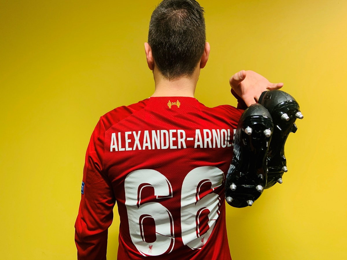 Black Lives Matter boots worn by Liverpool full-back Trent Alexander-Arnold, donated by Reds fan Rob Lingham.