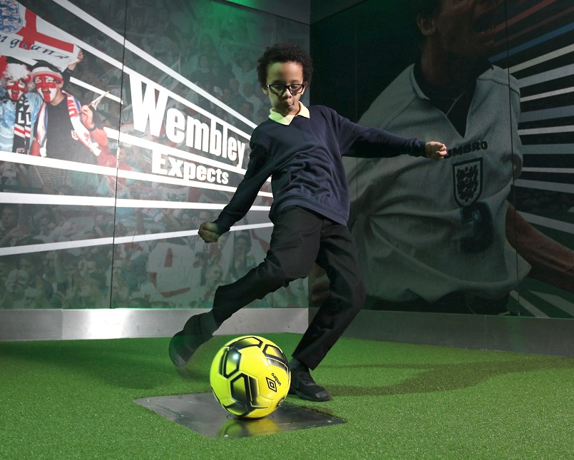 National Football Museum boy trying Penalty Shootout