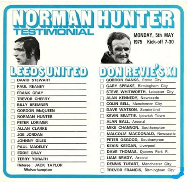 Norman Hunter testimonial programme teams