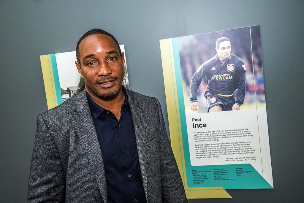 Paul Ince alongside National Football Museum Hall of Fame panel 2021