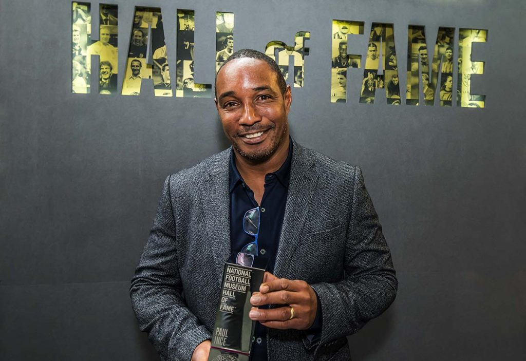 Paul Ince with National Football Museum Hall of Fame award 2021